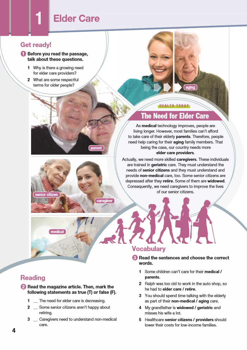 ESP English for Specific Purposes - Career Paths: Elder Care - Sample Page 1