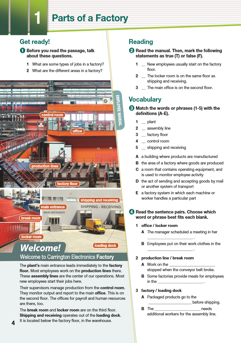 ESP English for Specific Purposes - Career Paths: Industrial Assembly - Sample Page 1