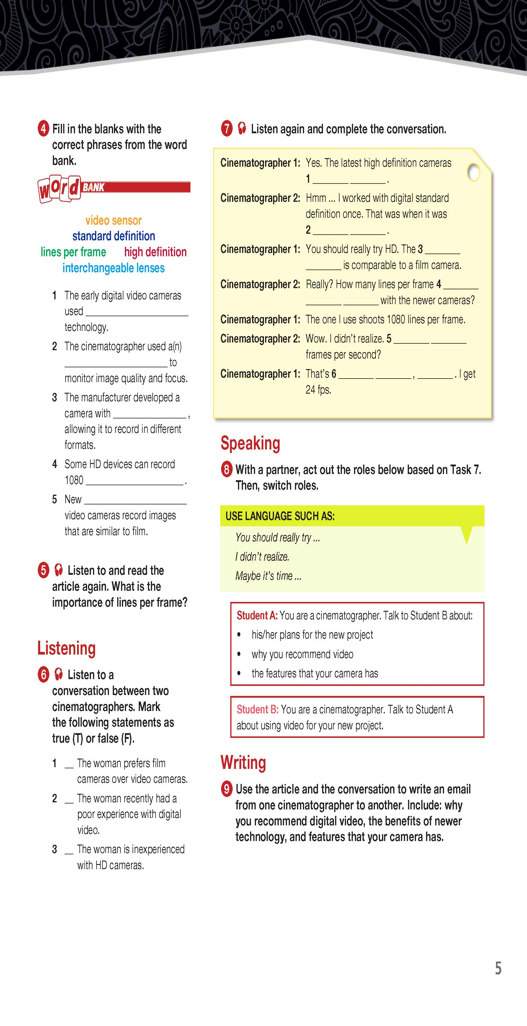 ESP English for Specific Purposes - Career Paths: Cinematography - Sample Page 2