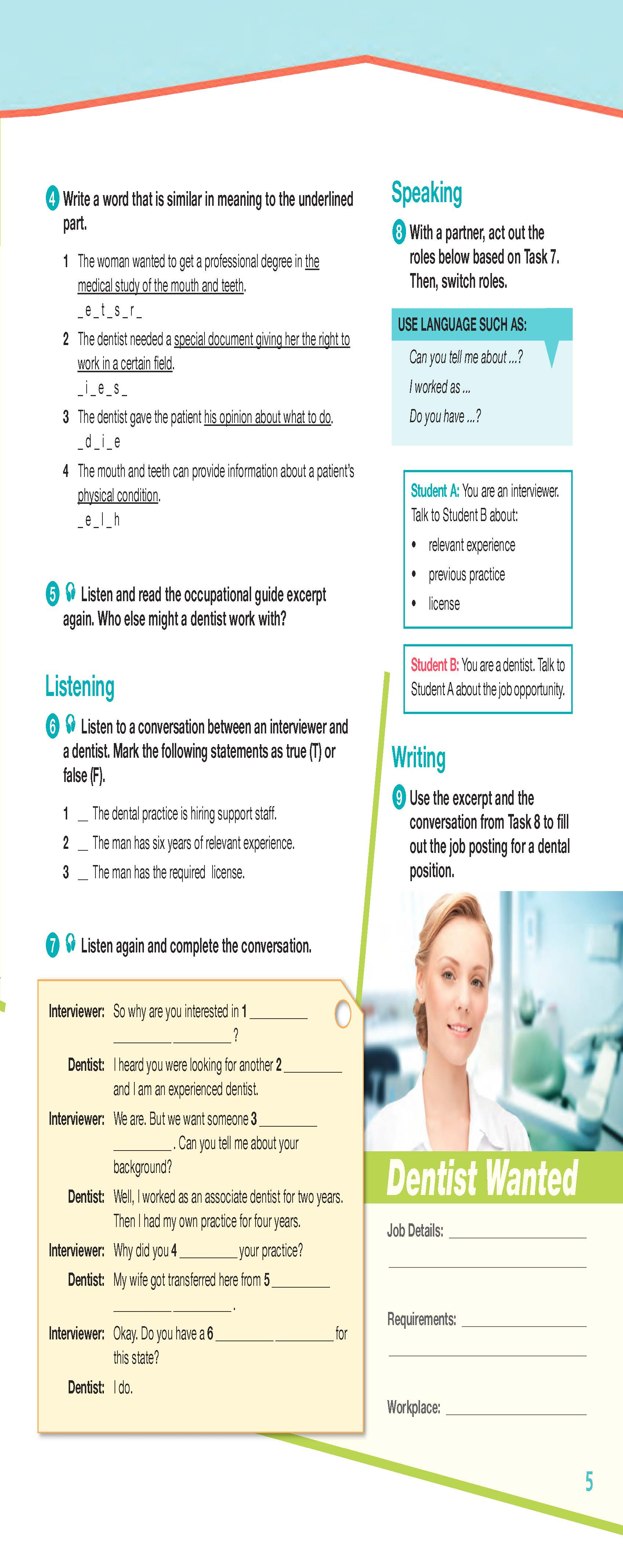 ESP English for Specific Purposes - Career Paths: Dentistry - Sample Page 2