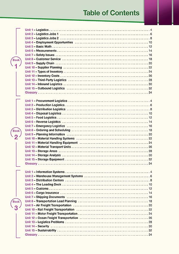 Contents - Career Paths: Logistics