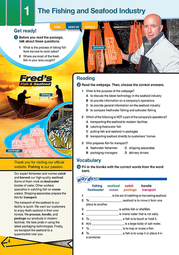 Sample Page 1 - Career Paths: Fishing & Seafood Industry