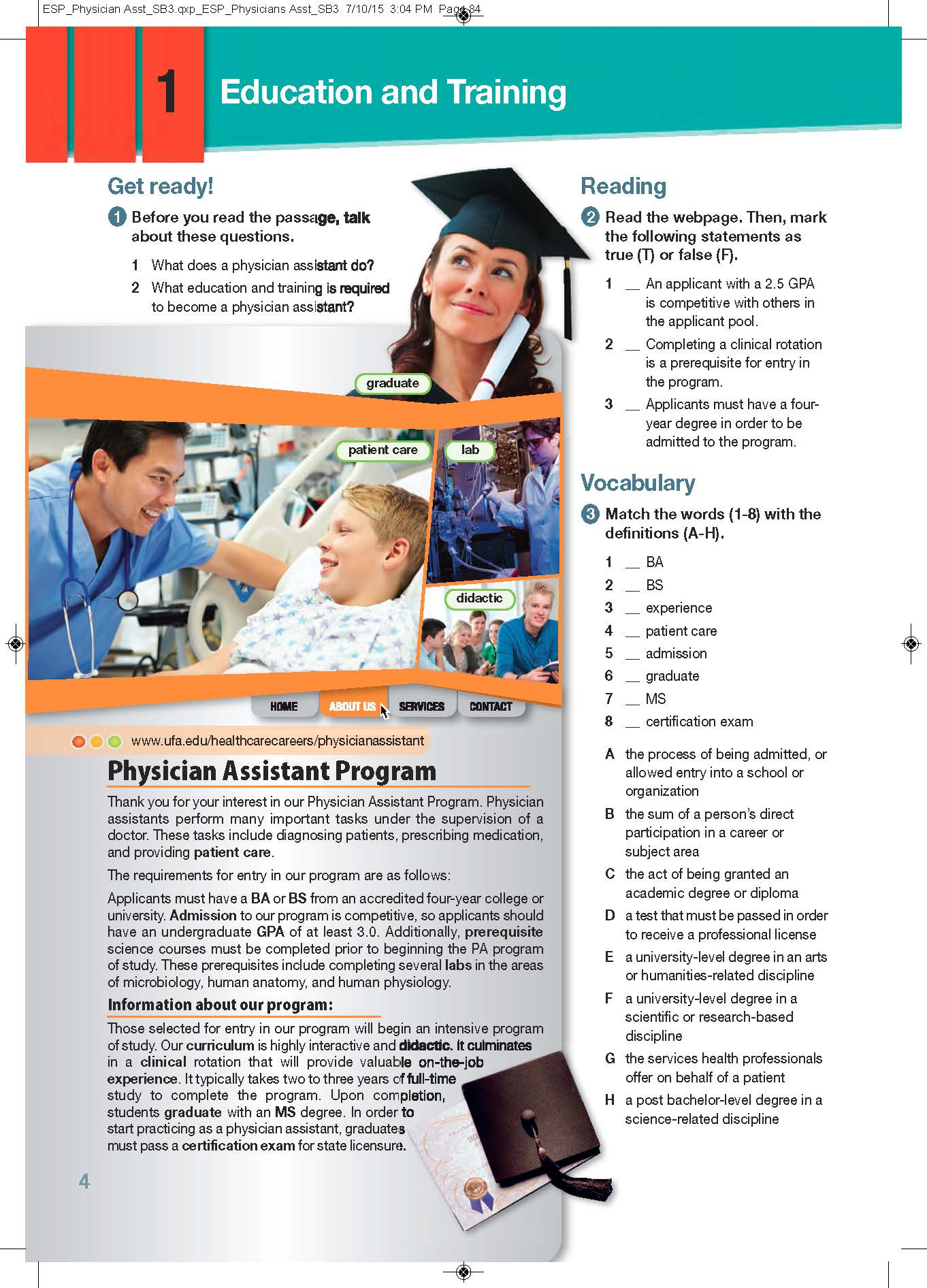 ESP English for Specific Purposes - Career Paths: Physician Assistant - Sample Page 1