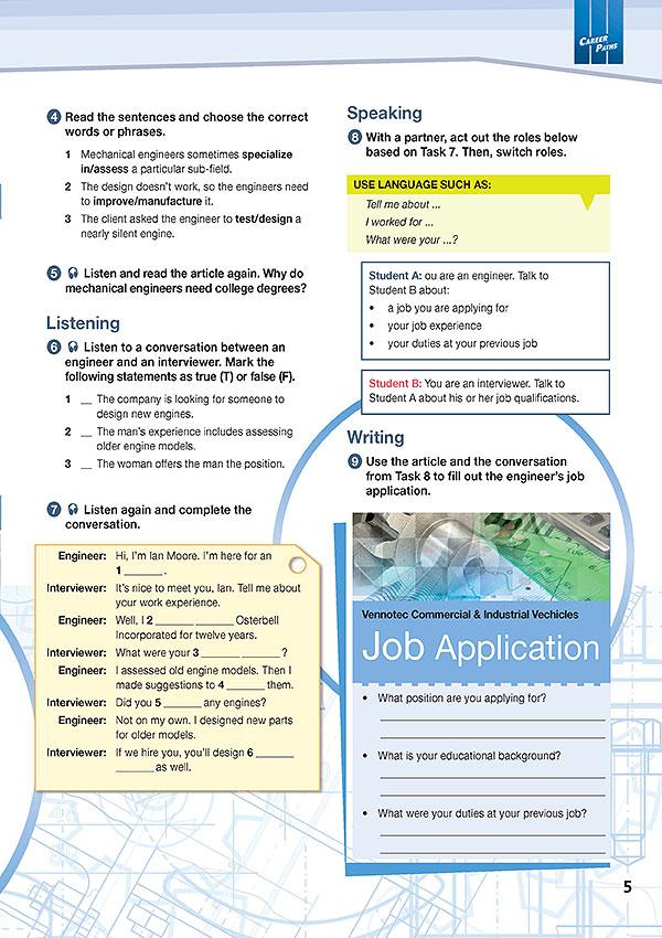 Sample Page 2 - Career Paths: Mechanical Engineering